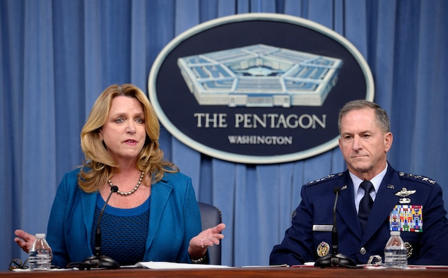 Air Force Secretary Deborah Lee James and Air Force Chief of Staff Gen. David L. Goldfein speak during their State of the Air Force press conference in the Pentagon, Aug. 10, 2016.  (U.S. Air Force photo/Scott M. Ash)