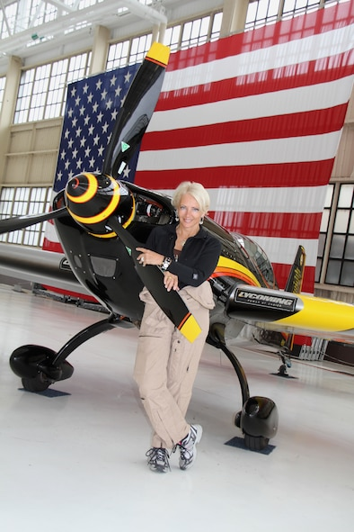 Patty Wagstaff poses with her German-built EXTRA 300S. (Courtesy photo)