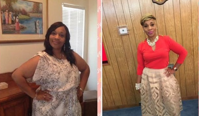 Chandra Erskine celebrates her weight loss progress from 2013 to 2016. In two and one-half years, Erskine lost 110 pounds. (courtesy photo)