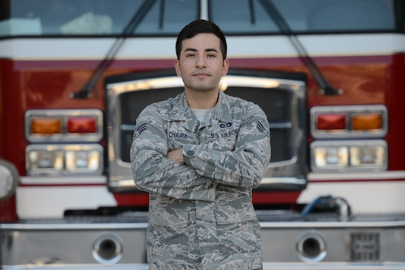 "Senior Airman Rodolfo Chaira, 47th Civil Engineer Squadron fire protection journeyman, stands in front of a fire truck Aug. 3, 2016 on Laughlin Air Force Base, Texas. Chaira was named the ""XLer of the Week"" for his excellent work performance and contributions to the local community. (U.S. Air Force photo/Airman 1st Class Brandon May)"