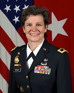 Brig. Gen. Deborah L. Kotulich, Commanding General, 143rd Sustainment Command (Expeditionary), poses for a command portrait in the Army portrait studio at the Pentagon in Arlington, VA, Aug. 10, 2016.  (U.S. Army photo by Monica King/Released)