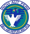"The 56th Air Refueling Squadron patch is the same emblem as when the C-5 Galaxy flew under the 56th Airlift Squadron, but has a new moto: ""Novi Aut Peri"" which means ""innovate or perish."" The larger bird, with mortar board, represents the instructors that have completed all requirments to be a trainer and the smaller bird represents the students, ready to be molded. The 56th AS has served the U.S. Air Force since 1942, and has been stationed around the globe and will be reactivated Aug. 30, 2016, as the formal training unit for the KC-46 Pegasus refueling aircraft. (Courtesy photo)"