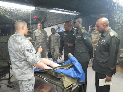 Rwanda Military Medical personal invited to exam Camp Bullis, simulation laboratories as DIMO assist them in building a similar setup in their home country. Camp Bullis, JBSA.