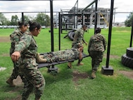 Mexico Navy students simulated proper casualty transport during a Aerial Patient Movement: Casualty  Evacuation course put on by DIMO.