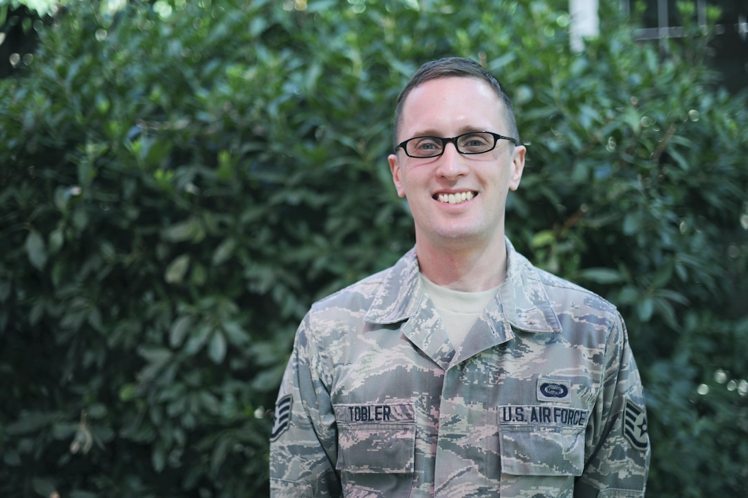 Staff Sgt. Aaron M. Tobler, a geospatial intelligence analyst with the 50th Intelligence Squadron, poses for a photo August 5, 2016, at Beale Air Force Base, California. Tobler was recently named one of 12 Outstanding Airmen of the Year for the Air Force. (U.S. Air Force photo by Senior Airman Tara R. Abrahams)