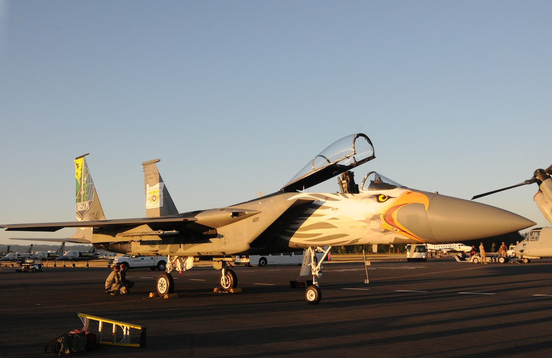 An Oregon Air National Guard F-15 Eagle assigned to the 173rd Fighter Wing is parked on the Hillsboro International Airport, Ore., flightline as part of the Oregon International Air Show, Aug. 5, 2016. The 'Screaming Eagle' paint designed is in recognition of the 75th Anniversary of the Oregon Air National Guard. (U.S. Air National Guard photo by Tech. Sgt. John Hughel, 142nd Fighter Wing Public Affairs/Released).
