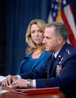 Air Force Chief of Staff Gen. David L. Goldfein, with Air Force Secretary Deborah Lee James, answers a question during the State of the Air Force press conference, in the Pentagon, Aug. 10, 2016. Goldfein stated, Airpower has become the oxygen the joint force breathes. Have it and you don't even think about it. Don't have it, and it's all you think about. (U.S. Air Force photo/Scott M. Ash)