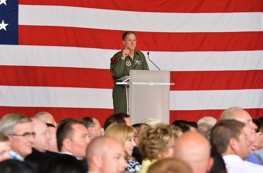 Air Force Chief of Staff Gen. David L. Goldfein speaks during the F-35A Lightning II initial operational capability ceremony Aug. 5, 2016, at Hill Air Force Base, Utah. (U.S. Air Force photo/R. Nial Bradshaw