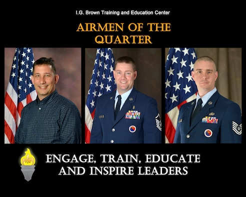 David Barlow, graphics manager for the Media and Engagement Division, TEC TV (civilian of the quarter), Master Sgt. Jason Miller, Distance Learning superintendent, senior EPME instructor for the Chief Master Sergeant Paul H. Lankford Enlisted Professional Military Education Center (senior NCO of the quarter), and Tech. Sgt. Michael Wells, EPME instructor for the Lankford Center (NCO of the quarter), are recognized for their outstanding service from April to June 2016, at the I.G. Brown Training and Education Center located on McGhee Tyson Air National Guard Base in Louisville, Tenn. (U.S. Air National Guard file photo illustration)