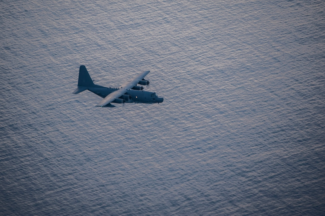 A 1st Special Operations Squadron MC-130H Combat Talon II flies during a training sortie Aug. 9, 2016, over the Pacific Ocean. The 1st SOS conducted a nighttime exercise involving the 18th Logistics Readiness Squadron forward area refueling point team. FARP members routinely train with the 1st SOS to maintain year-round mission readiness. (U.S. Air Force photo by Senior Airman Peter Reft)