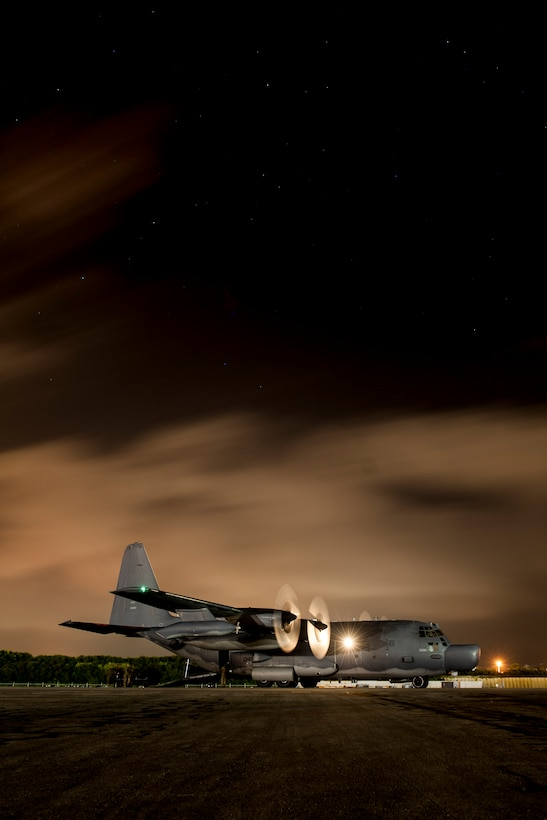 A 1st Special Operations Squadron MC-130H Combat Talon II idles on the flight line during a forward area refueling point exercise Aug. 10, 2016, at Kadena Air Base, Japan. 18th Logistics Readiness Squadron FARP members practiced loading, unloading and deploying a forward area manifold cart, allowing ground based hot refueling from a Combat Talon II. FARP operations enable aircraft from other units and sister services to refuel no matter the time or location.  (U.S. Air Force photo by Senior Airman Peter Reft)