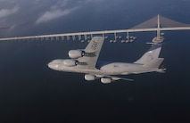 A KC-135R Stratotanker assigned to the 6th Air Refueling Wing, 91st Air Refueling Squadron, at MacDill Air Force Base, Fla., flies a training mission over central Florida. The KC-135's principal mission is air refueling while four turbofans, mounted under 35-degree swept wings, power the KC-135 to takeoffs at gross weights up to 322,500 pounds. (U.S. Air Force photo by Master Sgt Keith Reed)