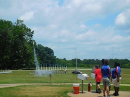 Conner Mullins launches a rocket at Space Camp.