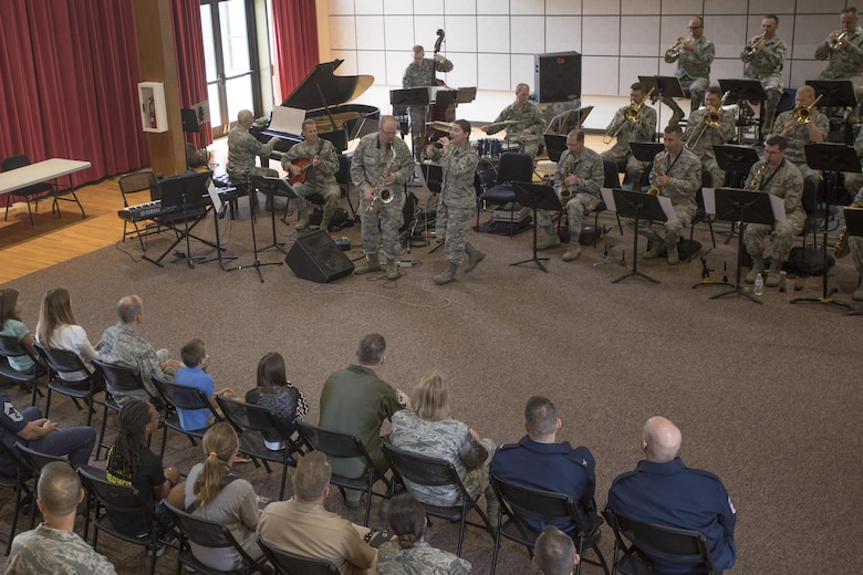 The U.S. Air Force Jazz Band performs during an immersion tour at Joint Base Anacostia-Bolling in Washington, D.C., Aug. 9, 2016. The purpose of the visit was for Col. E. John Teichert, 11th Wing and Joint Base Andrews commander, and Chief Master Sergeant Beth Topa, 11th WG command chief master sergeant, to become more familiar with the U.S. Air Force Band and Honor Guard missions. (U.S. Air Force Photo by Airman 1st Class Rustie Kramer)