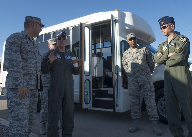 Gen. Hawk Carlisle (left center), the commander of Air Combat Command, discusses progress of the new 49th Medical Group facility with Holloman leadership at Holloman Air Force Base, N.M. Aug. 4, 2016. Carlisle visited Holloman to hold an all-call, conduct a round-table discussion with Holloman leadership, and recognize superior performers at various work centers. (U.S. Air Force photo by Staff Sgt. E'Lysia A. Wray)