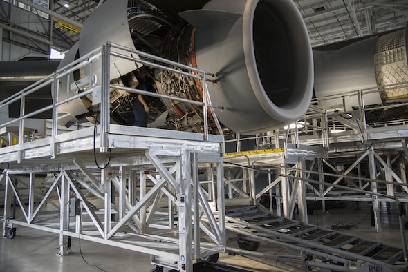 A new C-17 Engine Maintenance Platform surrounds the engines on a C-17A Globemaster III on Aug. 1, 2016, at Dover Air Force Base, Del. The 736th Aircraft Maintenance Squadron began using the new platforms in July, 2016, to foster a safer and more streamline inspection process. (U.S. Air Force photo by Senior Airman Aaron J. Jenne)