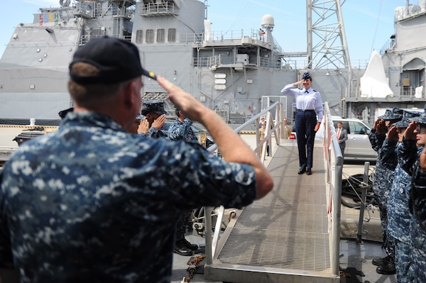 Gen. Lori Robinson, commander, North American Aerospace Defense Command and U.S. Northern Command is saluted by Cmdr. Stefan Walch, commanding officer of Arleigh Burke-class destroyer USS Gonzalez (DDG 66) while coming aboard Gonzalez Aug. 11, 2016. The General's visit to Norfolk includes a maritime domain awareness brief at the U.S. Fleet Forces Maritime Operations Center, a tour of Gonzalez and a hall of fame induction ceremony at the Joint Forces Staff College.
