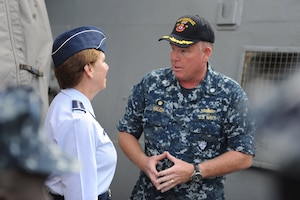Cmdr. Stefan Walch, commanding officer of USS Gonzalez (DDG 66), speaks to Gen. Lori Robinson, commander, North American Aerospace Defense Command and U.S. Northern Command,  after a tour of the ship Aug. 11, 2016. The General's visit also included a maritime domain awareness brief at the U.S. Fleet Forces Maritime Operations Center and a hall of fame induction ceremony at the Joint Forces Staff College.