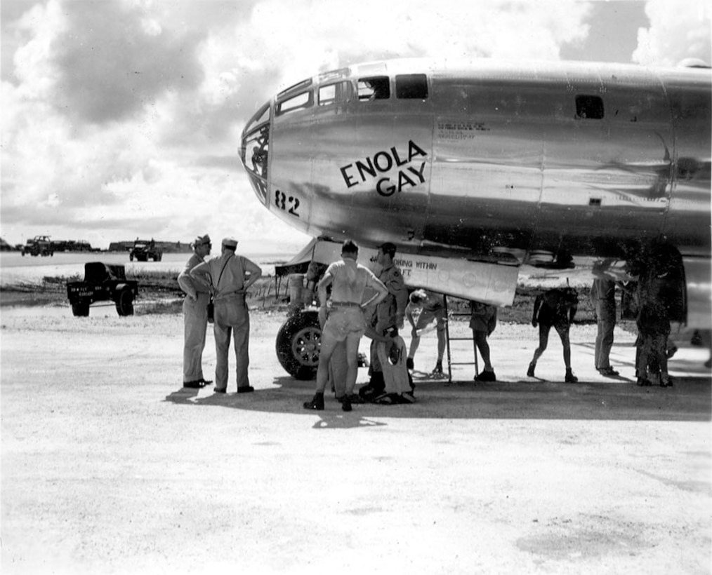 The B-29 'Enola Gay,' gets prepared for a mission, 1945 at the Island of Tinian. (Courtesy photo)