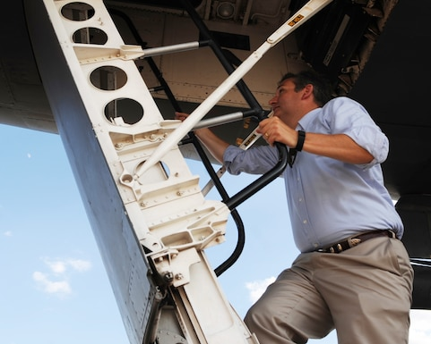 U.S. Sen. Ted Cruz climbs the ladder of a B-1B Lancer Aug. 11, 2016, at Dyess Air Force Base, Texas. The senator was able to get an up-close look at the bomber and learn about its mission. (U.S. Air Force photo by Senior Airman Kedesha Pennant/Released)