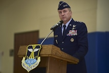 Lt. Gen. David J. Buck, Commander, 14th Air Force (Air Forces Strategic), Air Force Space Command; and Commander, Join Functional Component Command for Space, U.S. Strategic Command speaks August 12, 2016, during the 460th Space Wing change of command ceremony at the Buckley Fitness Center on Buckley Air Force Base, Colo. Buckley AFB defends America through its air operations, space-based missile warning capabilities, space surveillance operations, space communications operations and support functions. (U.S. Air Force photo by Airman 1st Class Gabrielle Spradling/Released)