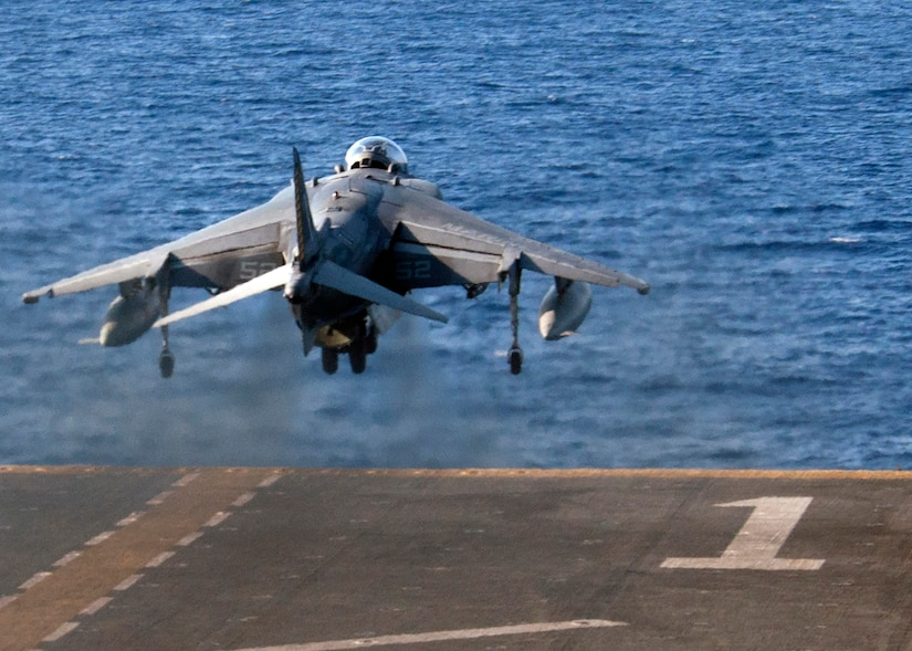 An AV-8B Harrier assigned to the 22nd Marine Expeditionary Unit takes off from the flight deck of the amphibious assault ship USS Wasp in the Mediterranean Sea, Aug. 10, 2016. The 22nd MEU, embarked on Wasp, is conducting precision air strikes in support of the Libyan Government of National Accord-aligned forces against ISIL targets in Sirte, Libya, as part of Operation Odyssey Lightning. Navy photo by Petty Officer 3rd Class Rawad Madanat