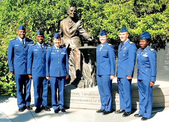 Cadets 1st Class Jalen Lacy, Brandon Bradley, Leah Young, Riley Richards, Andrew Resweber and Tierra Franklin led the Cadet Wing through the summer semester. Young and Franklin are prior-enlisted Airmen who came to the Academy through the LEAD program. (U.S. Air Force photo by Master Sgt. Kenneth Bellard)