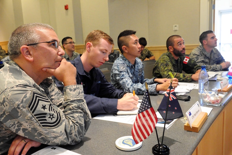 U.S. Air Force Chief Master Sgt. Timothy Horn (left), the Air University command chief at Maxwell Air Force Base, Ala., participates in a brain teaser during the first U.S. led Pacific Rim Junior Enlisted Leadership Forum (JELF) at Joint Base Pearl Harbor-Hickam, Hawaii, Aug 10. 2016. A U.S. Soldier and Airmen from Australia, Cambodia, Canada, Indonesia, Japan, Maldives, Mongolia, New Zealand, Philippines, Singapore, and the United States came together during the JELF to share experiences and to gain valuable insight on leadership development in order to grow as tomorrow's senior enlisted leaders.  (U.S. Air Force photo by Staff Sgt. Kamaile Chan)