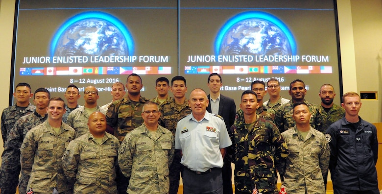 Pacific Rim Junior Enlisted Leadership Forum (JELF) participants pose for a group photo during the first U.S. led JELF at Joint Base Pearl Harbor-Hickam, Hawaii, Aug 10. 2016. The forum allowed participants to share experiences about leadership, further strengthening U.S. alliances and partnerships across the Pacific.  (U.S. Air Force photo by Staff Sgt. Kamaile Chan)