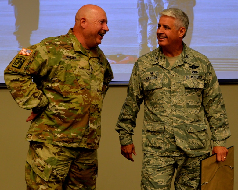 Maj. Gen. Terry M. Haston, the Adjutant General of Tennessee National Guard and Col. Thomas Cauthen, 134th Air Refueling Wing Commander talk while visiting the 134th Operations Group July 27, 2016 at McGhee Tyson ANG Base, Knoxville, Tenn. (U.S. Air National Guard photo by Staff Sgt. Daniel Gagnon)