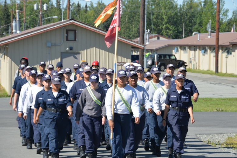 A platoon of cadets from the Military Youth Academy marches to the dining facility at Joint Base Elmendorf- Richardson, Alaska on July 14. The Cadets voluntarily live in military like conditions for 22 weeks in order to get back on the right track to earn high school credits, GED or high school diploma. (U.S. Air National Guard photo by: Senior Airman Melissa Dearstone)