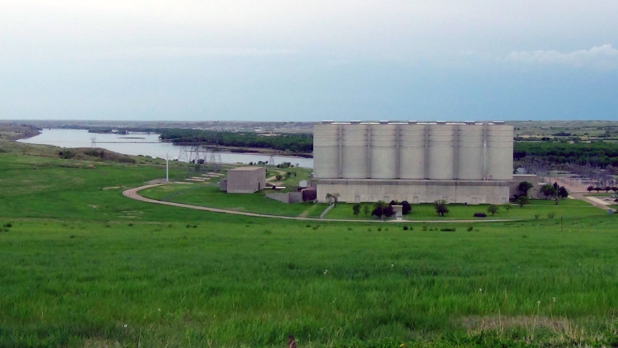 Located near Pierre, South Dakota, the surge tanks at Oahe Dam are each 70 feet in diameter. There are two tanks per penstock. The surge tanks help regulate water flow to the power house turbines.
