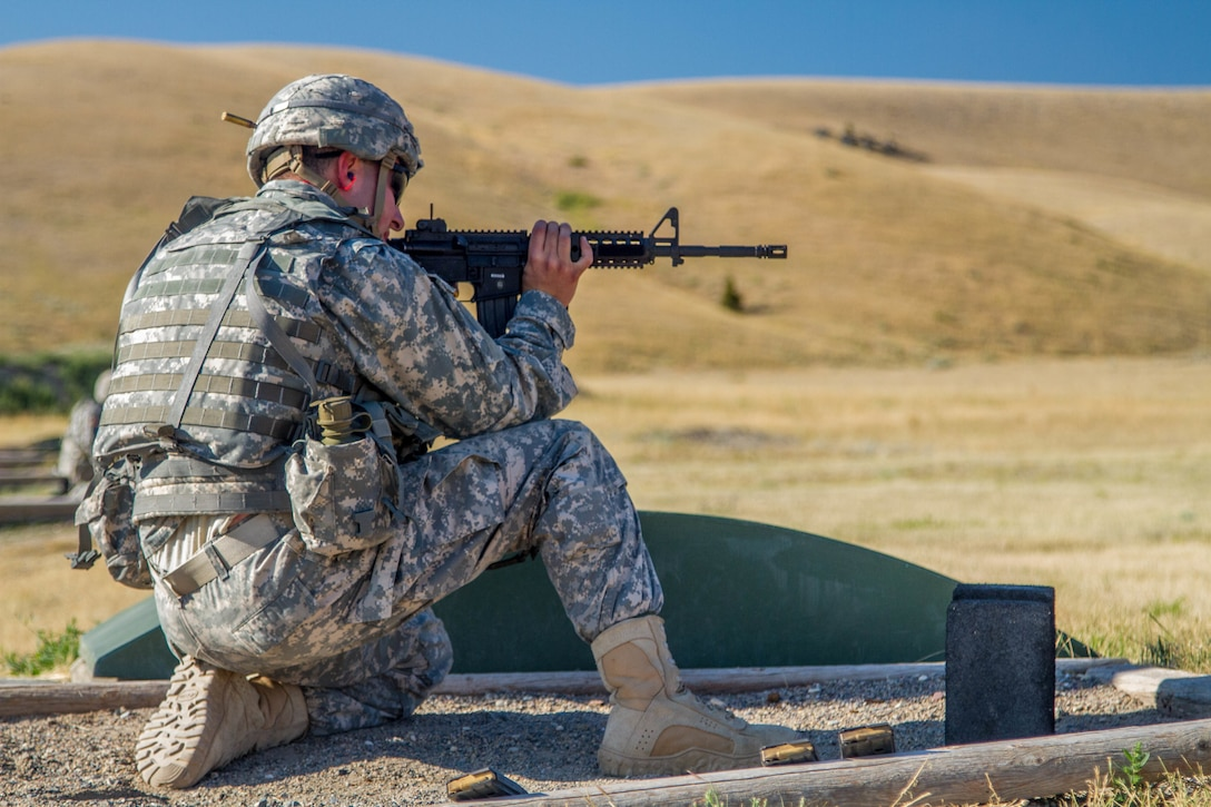 Spc. Carlo Deldonno, 2016 U.S. Army Reserve Best Warrior Competition (BWC) runner up in the Soldier category, qualifies on an M-4 rifle at Fort Harrison, Mont., August 9, 2016. The Army Reserve BWC winners and runners up from the noncommissioned officer (NCO) and Soldier categories are going through rigorous training, leading up to their participation in the Department of the Army Best Warrior Competition this fall at Fort A.P., Va.