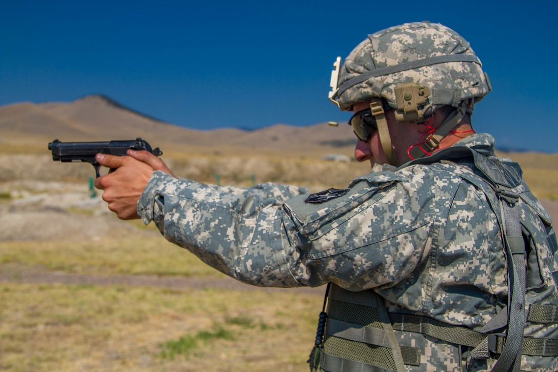 Spc. Carlo Deldonno, 2016 U.S. Army Reserve Best Warrior Competition (BWC) runner up in the Soldier category, qualifies with a M-9 pistol at Fort Harrison, Mont., August 8, 2016. The Army Reserve BWC winners and runners up from the noncommissioned officer (NCO) and Soldier categories are going through rigorous training, leading up to their participation in the Department of the Army Best Warrior Competition this fall at Fort A.P., Va.