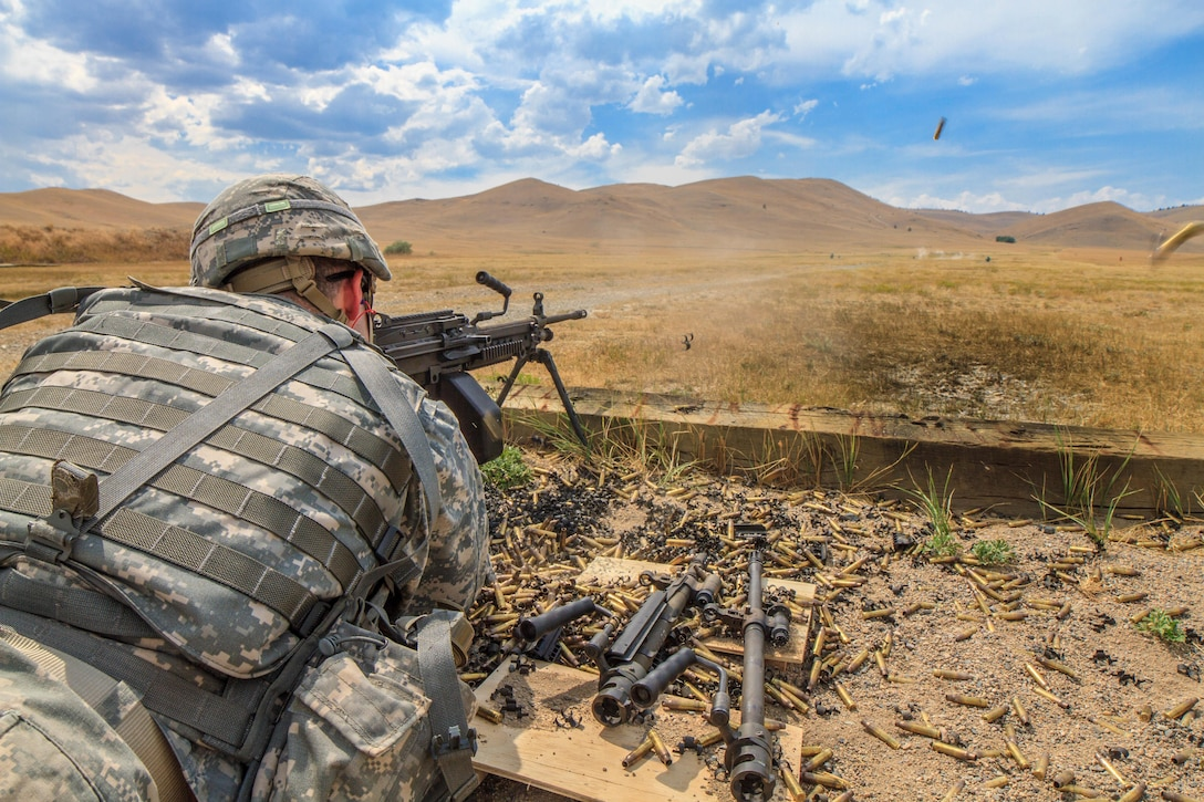 Spc. Carlo Deldonno, 2016 U.S. Army Reserve Best Warrior Competition (BWC) runner up in the Soldier category, fires a M-249 squad automatic weapon at Fort Harrison, Mont., August 8, 2016. The Army Reserve BWC winners and runners up from the noncommissioned officer (NCO) and Soldier categories are going through rigorous training, leading up to their participation in the Department of the Army Best Warrior Competition this fall at Fort A.P., Va.