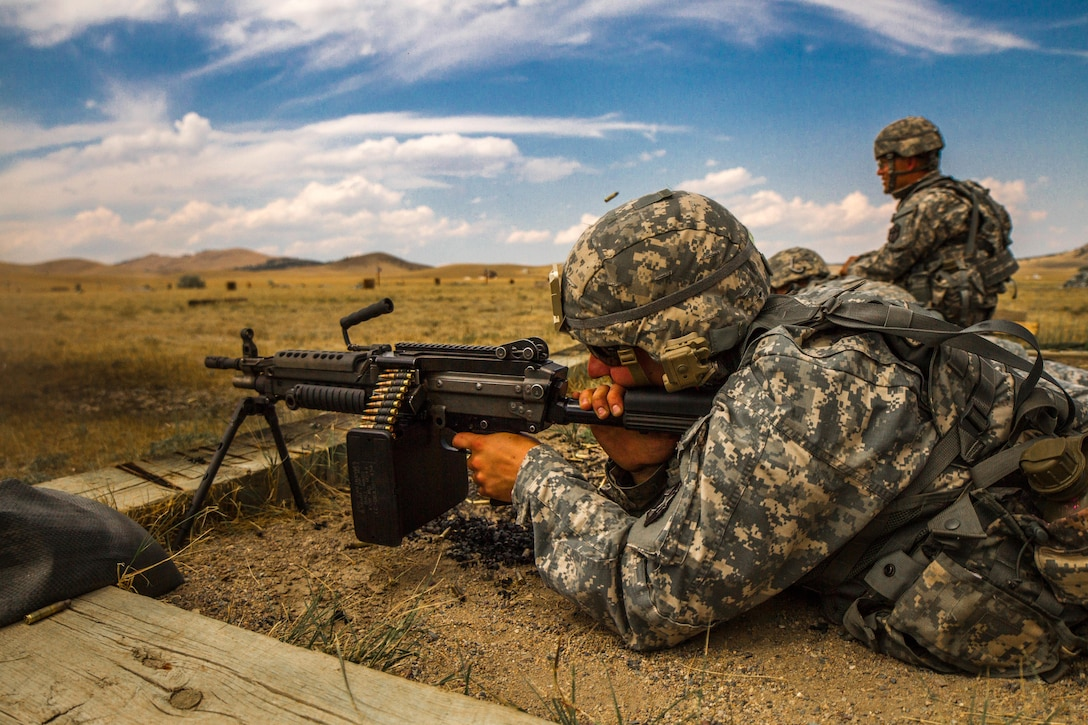 Spc. Carlo Deldonno, U.S. Army Reserve 2016 Best Warrior Competition (BWC) runner up in the Soldier category, fires a M-249 squad automatic weapon at Fort Harrison, Mont., August 8, 2016. The Army Reserve BWC winners and runners up from the noncommissioned officer and Soldier categories are going through rigorous training, leading up to their participation in the Department of the Army Best Warrior Competition at Fort A.P. Hill this fall.