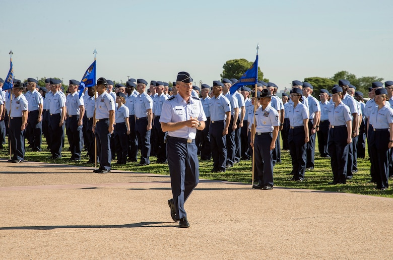 "Maj. Gen. Burke ""Ed"" Wilson, 24th Air Forces' fourth commander, addresses guests and Airmen during a Basic Military Training graduation Wilson officiated in San Antonio, Texas May 2016 (U.S. Air Force photo by Johnny Salvidar)."