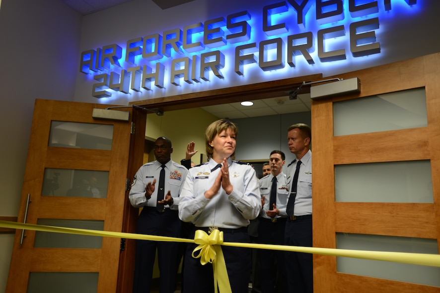 Maj. Gen. Suzanne M. Vautrinot (Ret.), 24th Air Forces' second commander, addresses visitors and members of the media during the official ribbon cutting ceremony in the Numbered Air Forces new location at Port San Antonio, Texas Mar 2012 (Courtesy photo).