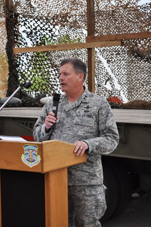 Maj. Gen. Richard E. Webber (Ret.), 24th Air Forces' first commander, speaks to the 5th Combat Communications Group during the 2010 Combat Challenge at Robins AFB, Macon Ga. July 2010 (Courtesy photo).
