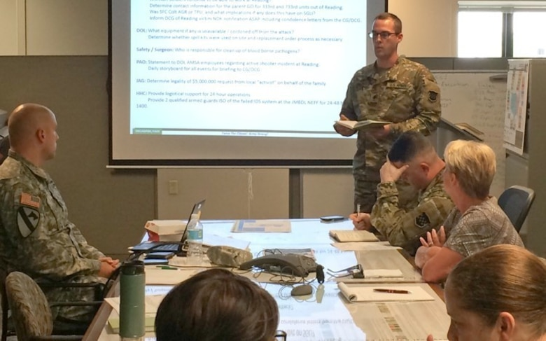 Soldiers from several Army Reserve public affairs units participate in pre-deployment training during the 99th Regional Support Command's five-day Staff Exercise Aug. 8-12 at command headquarters on Joint Base McGuire-Dix-Lakehurst, New Jersey. The STAFFEX was designed to integrate the 99th RSC's full-time military and civilian employees with the command's Troop Program Unit (TPU) Soldiers in a scenario-driven exercise to test various processes and personnel as they relate to Defense Support of Civil Authorities.