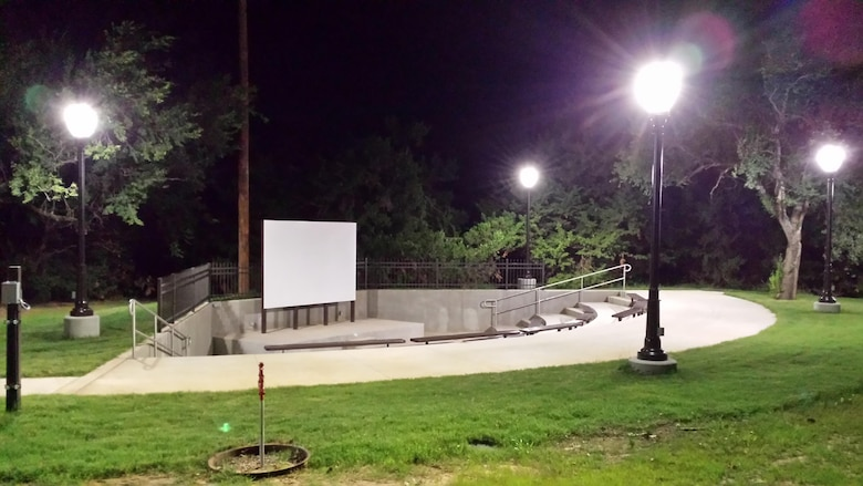 The new amphitheater at Canton Lake features outdoor lighting, tiered seating and a large screen for projection capabilities. The facility is open to the public and the Canton Lake Office is accepting suggestions for programming.