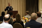 Air Force Gen. Paul J. Selva, vice chairman of the Joint Chiefs of Staff, delivers the keynote speech during the reception for the Joint Civilian Orientation Conference outside Washington, D.C., Aug. 14, 2016. DoD photo by Marine Sgt. Drew Tech