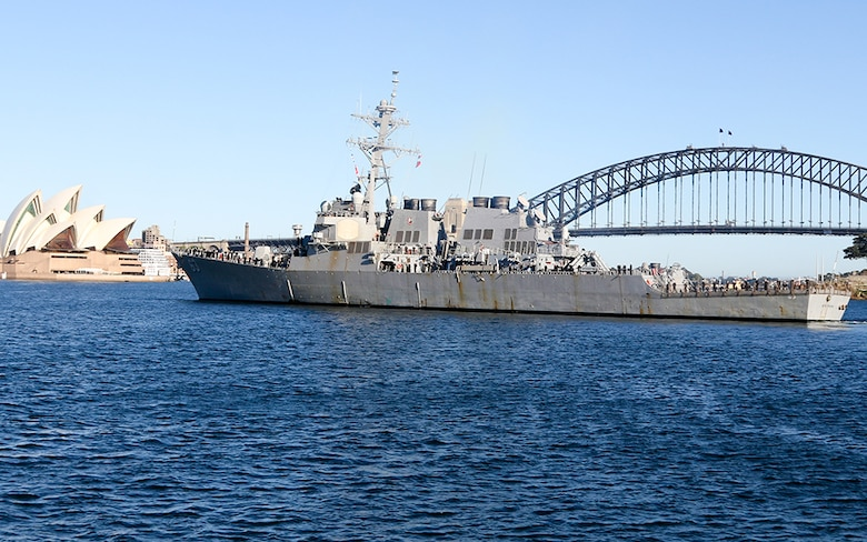 The Arleigh Burke-class guided-missile destroyer USS Stethem (DDG 63) arrives in Sydney, Australia to promote green energy initiatives in support of the Great Green Fleet, Aug. 14, 2016. The mission of the Great Green Fleet is to demonstrate how energy efficient systems and procedures, and the use of alternative energy contribute to combat capability, resiliency and flexibility in the operational environment.