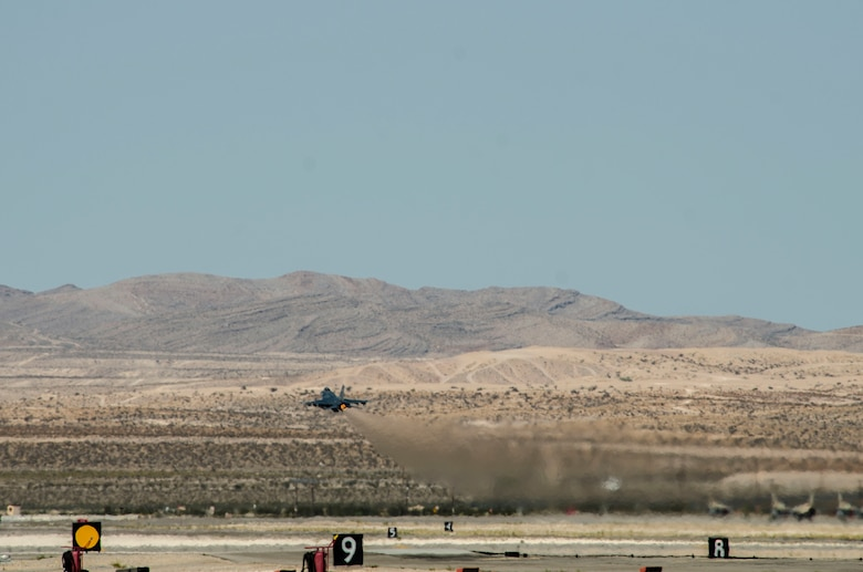 An F‐16CM Fighting Flacon assigned to the 55th Fighter Squadron, Shaw Air Force Base, S.C., takes off at Nellis Air Force Base, Nev., Aug. 13, 2016. A familiarization of the range had been conducted where players in the exercise fought against 250 aggressor forces. (U. S. Air Force photo by Tech. Sgt. Frank Miller/Released)