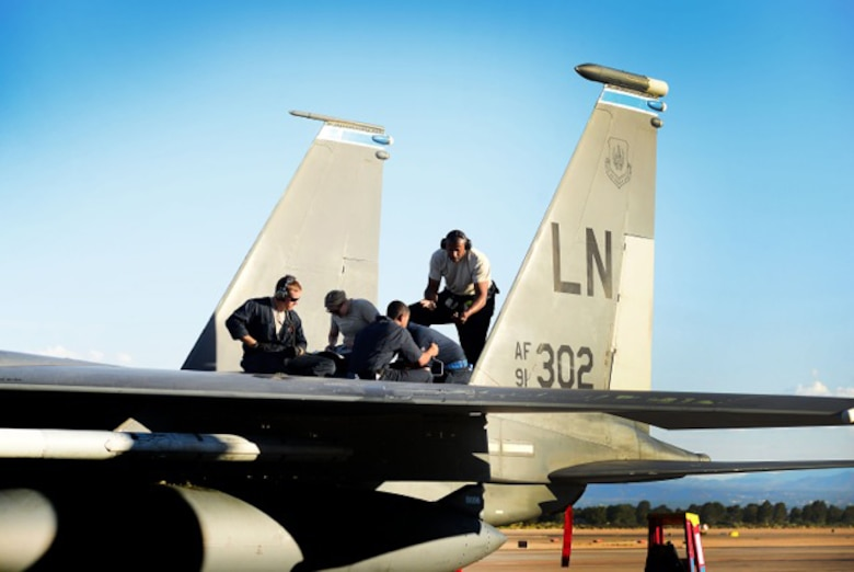 Maintainers from the 48th Aircraft Maintenance Squadron conduct a post-flight check of an F-15E Strike Eagle in preparation for exercise Red Flag 16-4 at Nellis Air Force Base, Nevada, Aug 13. Red Flag is the U.S. Air Force's premier air-to-air combat training exercise and one of a series of advanced training programs that is administered by the U.S. Air Force Warfare Center and executed through the 414th Combat Training Squadron. (U.S. Air Force photo/ Tech. Sgt. Matthew Plew)