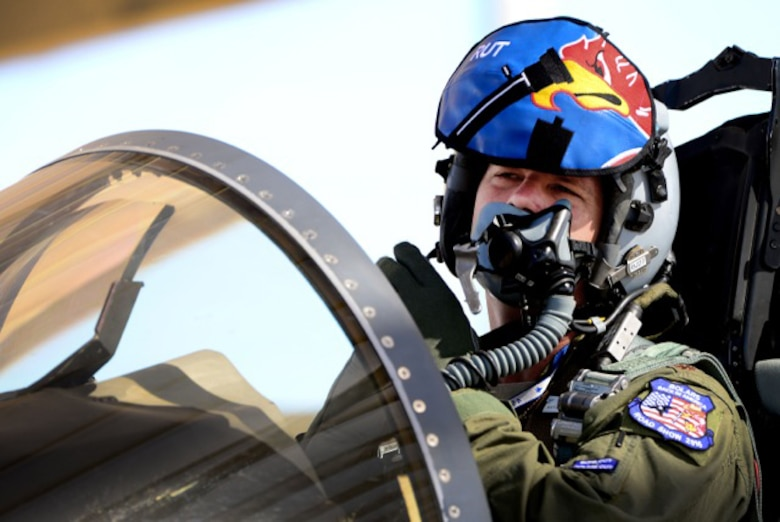 U.S. Air Force Major Oliver Roe, 492nd Fighter Squadron pilot, gets ready for a sortie in preparation for exercise Red Flag 16-4 at Nellis Air Force Base, Nevada, Aug 12. Red Flag is the U.S. Air Force's premier air-to-air combat training exercise and one of a series of advanced training programs that is administered by the U.S. Air Force Warfare Center and executed through the 414th Combat Training Squadron. (U.S. Air Force photo/ Tech. Sgt. Matthew Plew