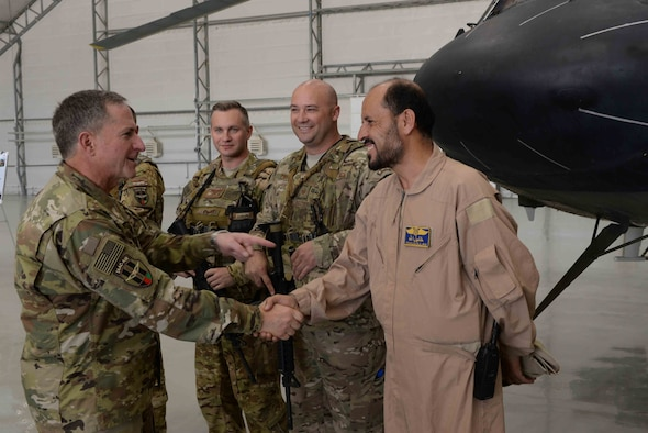 Gen. David Goldfein, Air Force Chief of Staff, visited the 438th Air Expeditionary Wing, Kabul, Afghanistan, Aug. 13, 2016. Goldfein met with Train, Advise, Assist Command-Air (TAAC-Air) leadership and received briefings about the progress of the Afghan air force. (U.S. Air Force photos by Tech. Sgt. Christopher Holmes and Capt. Jason Smith)