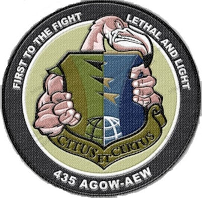 Fightin' Flamingo morale patch for 435th Air Ground Operations Wing and 435th Air Expeditionary Wing. (Courtesy graphic)