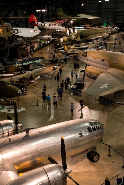 """Boeing B-29 Superfortress """"Bockscar"""" and additional aircraft in the World War II Gallery at the National Museum of the United States Air Force. (U.S. Air Force photo by Ken LaRock)"""