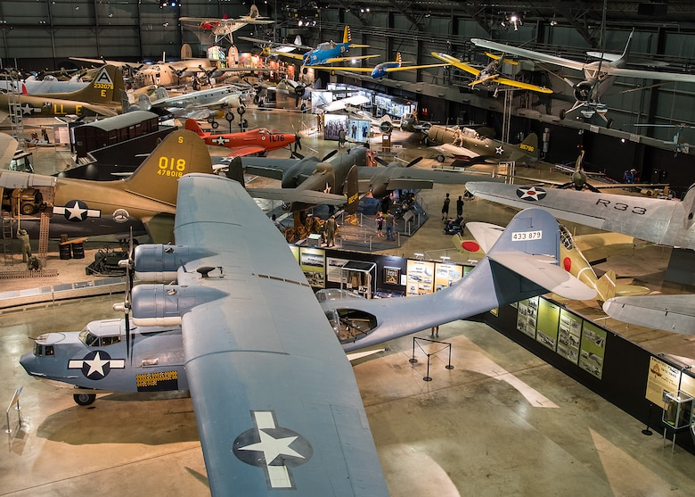 Consolidated OA-10 Catalina and other aircraft in the WWII Gallery at the National Museum of the United States Air Force. (U.S. Air Force photo by Ken LaRock)